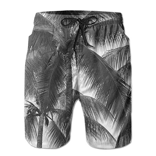 jiger Mens Beach Shorts Swim Trunks,Palm Tree Silhouette Exotic Plant On Dark Thema Foliages Relax In Nature Image Black,Summer Cool Quick Dry Board Shorts Bathing SuitXXL