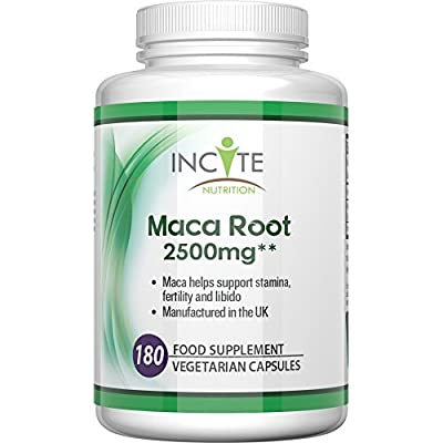 Maca root capsules 2500mg, 180 Capsules (6 Month Supply) vegetarian capsules not powder, oil or tablets - Health Benefits Include increased fertility and helps with menopause, Vegan Maca gives a burst of vitamins to both men & women. from Incite Nutrition