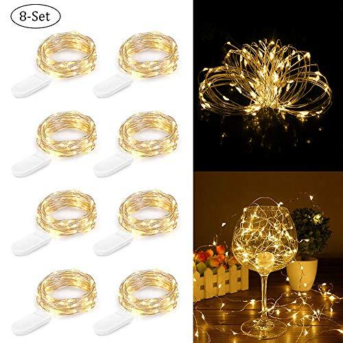 LED Lichterkette Batterie, Zorara 8 Stück 2M 20 LED Lichterkette Kupfer Drahtlichterkette für Party Weihnachten Hochzeit Flaschen Licht DIY Dekor, Warmweiß
