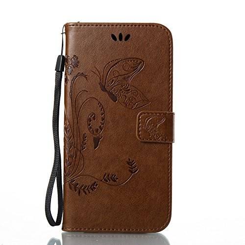 EKINHUI Case Cover Solid Color Faux Leder Bookstyle Brieftasche Stand Case mit geprägten Blumen & Lanyard & Card Slots für Samsung Galaxy A7 2017 ( Color : Blue ) Coffee