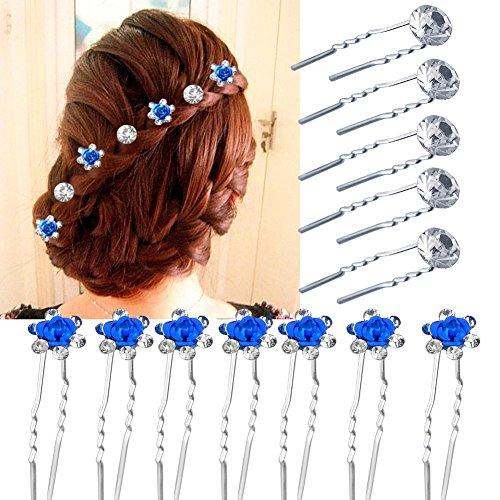 Vanyda 40 Stück Pearl Flower Rhinestone Hair Pins Party Prom Wedding Bridal Bridesmaid Clips(20 blau +20r Silber) (Party Pins Bridal)