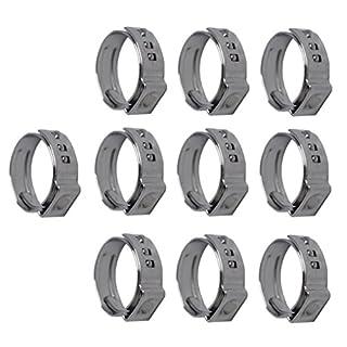 non-brand Sharplace 10 Stücke Einstellbar Autos Oetiker Stufenlose Ohr Klemme Typ aus Edelstahl - Wie beschrieben- 10 x 13,7-16,2 mm