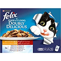 Felix Doubly Delicious Meaty Selection Wet Cat Food Pouch, 100 gm - Pack of 12