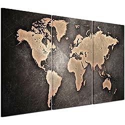 RAIN QUEEN 157X75cm XXL HD Carte du Monde Grand Format Impression sur Toile sans Cadre