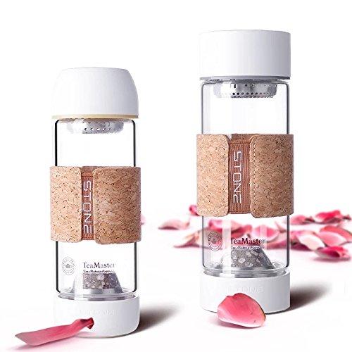 Maifan Stein Trinkflasche aus Glas, Edelstein Wasserflasche mit Teesieb, Gemstone Isolierflasche von Permano to go (370 ml - 195mm) - Glas Isolierflasche