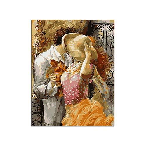 Xyywqybg Malen Nach Zahlen Kit, Diy Ölgemälde Zeichnung Süßes Dating Leinwand Mit Pinsel Christmas Decor Dekorationen Geschenke-40X50Cm, Combo Box