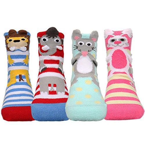 KF Baby Cute Animal, rutschhemmenden Baumwolle Socken Value Pack [4Paar], Infant–Kleinkind (Crew-4 Pack Paar)