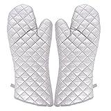 sourcingmap Haushalt Bäckerei Hitzebeständigkeit Mikrowelle Backofen Handschuhe Silber Ton Paar DE