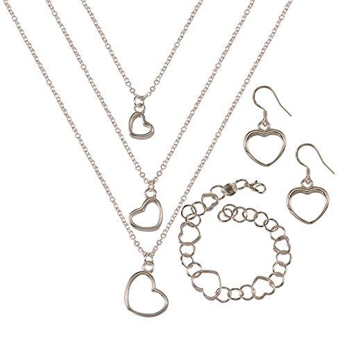 ochzeit Fashion 925Silber plattiert Schmuck Set Hand Kette Armband Halskette Ohrringen flach Paar Skelett Herzen ()