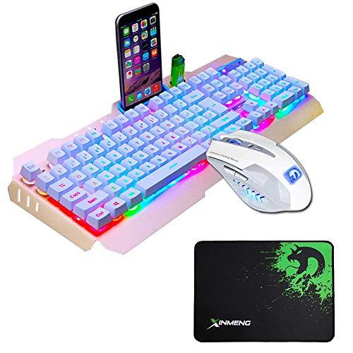 UrChoiceLtd Tastatur Maus Bunt Regenbogen-LED Hinterleuchtet Usb Spiel Tastatur Mit Einem Telefonstand Und Feuerzeug Stand + 2000DPI Gaming Maus Sets + Spiel Mauspad Für Laptop (Gold weiß)