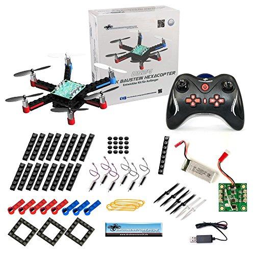 DS24 Baustein Hexacopter - die Brick Drohne zum Selbstbauen - Bausatz für Groß und Klein - Anfänger Copter