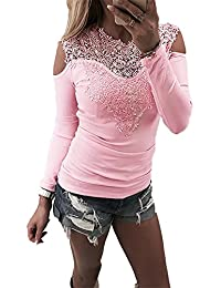 Ninimour Women Appliqued Long Sleeve Splicing Hollow Out Shirt Blouse Tops