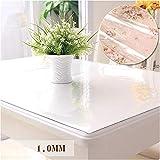 PVC-Tischdecke, Wasserdichtes Anti-Hot-Glas, Kunststoff, Couchtischsets, Weiche Tischdecke 1.0MM,80 * 120Cm