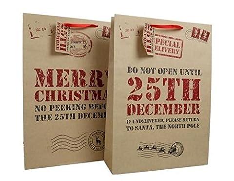 2 Christmas Gift Craft Bag with Tags