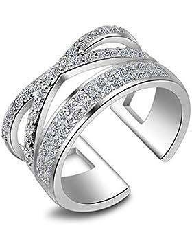 Shawa Damen-Ringe Öffnungsring 925 Sterling Silber mit Zirkonia Cross-Line Breite Ringe Freundschaftsringe Weihnachten...