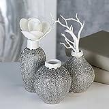 Vasen Miko Keramik silber Oberflächenstruktur matt/glänzend weißem Vasenhals Höhe 12,5 cm, Tischdeko, Blumen (Unten bauchig (rechts))