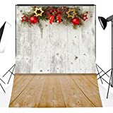 DODOING 3x5FT Christmas Theme Bell Balls Stars Vinyl Backdrop for Photography Background Wood Wall Floor Studio Props 0.9x1.5m