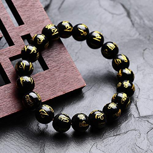 YYAMOMO Armband Für Männer Und Frauen Natürlicher Schwarzer Onyx Mode Perlen Einfach Kreativ Einzigartig Persönlichkeit Charme Exquisites Design Handgelenk Schmuck Jubiläum Geburtstagsgeschenk @ 10Mm