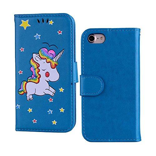 Custodia per iPhone 8 / iPhone 7, ESSTORE-EU Unicorn Design Premium Custodia in PU Pelle con Custodia Innominale Soft TPU, Unicorn Carino con Bling Bling Glitter Charming Scintillante Stella [Oro] Blu