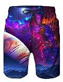 Loveternal Badeshorts Herren 3D Printed Galaxy Freizeit Kurze Beach Shorts Sommer Boardshorts mit Seitentaschen XL