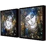 Art Street Sri Krishna Theme Framed Canvas Painting Set Of 2 Wall Art Print -13x13 Inchs
