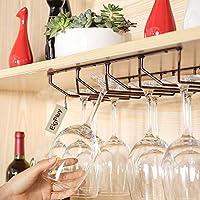 EigPluy Soporte Para Copa de Vino 4 Filas Bajo Gabinete Copas de Vino Rack Bronce rojo