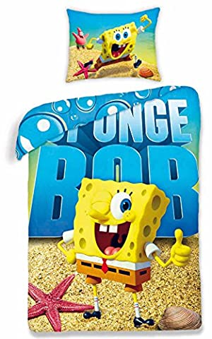 Bob L'Eponge parure linge de lit réversible 100% Coton housse de couette 140x200 + Taie d'oreiller 70x90 Idée Déco SpongeBob