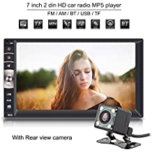 Qiilu Universal Reproductor Multimedia MP5 -7 pulgadas 2 Din HD Pantalla Táctil Bluetooth USB / TF FM Aux Entrada Radio MP5 Player con Cámara Visión Trasera para Coche