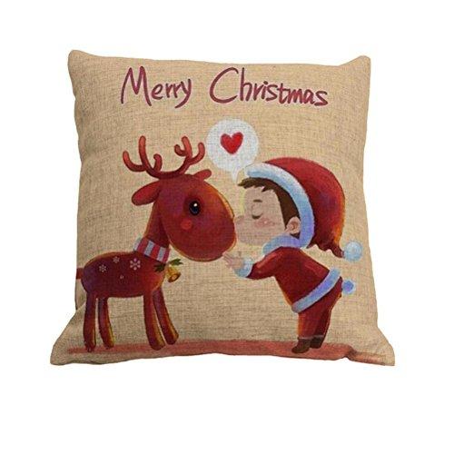 Amybria quadrato di Natale federa cuscino Case decorazione di casa morbido Custodia di Cuscino, cotone lino, Motif C, 45cm*45cm/18'*18'