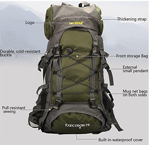 Minetom 70L Unisex Erwachsene Rucksack Camping Wandern Reisen Trekkingrucksäcke Wanderrucksäcke Taktischer Nylon Rainproof Blau
