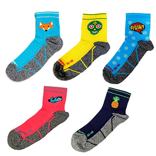 Pack 5 Mix Running Socks, Männer, Frau, Lustig, Nahtlos, Thermal, Fruity, Lazy, Comic, Skully, Foxblue, Größen 36-45 (41-45)