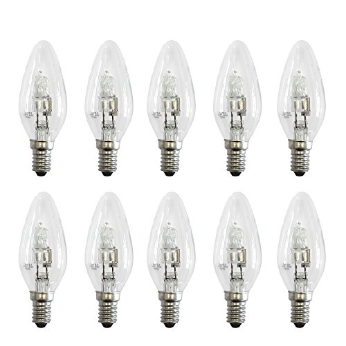 20w Glühlampe (10 x Eco Halogen Kerze Glühbirne 20W = 25W E14 Glühlampe Kerzen 2000h warmweiß 2700K dimmbar (20 Watt))