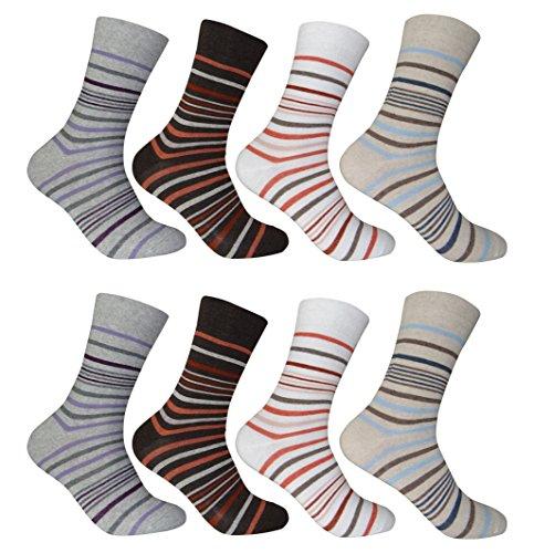 12 Paar Damen Socken Ringel, Uni und Kariert (35 - 38, mehrfarbig 4)