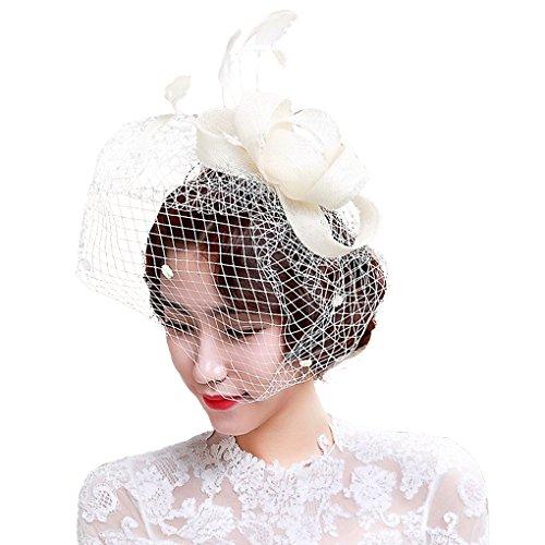 JIAHG Braut Fascinator Haarschmuck Kopfbedeckung mit Schleier für Hochzeit Kostüm Karneval Fasching, Damen Mini Hut Haar Clip Hut für Cocktail Party