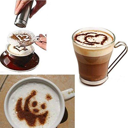 Lyanther Kaffee Schablonen Latte Kunst Cappuccino Plastikplatte Vorlage 16 Designs Herz Kaffee
