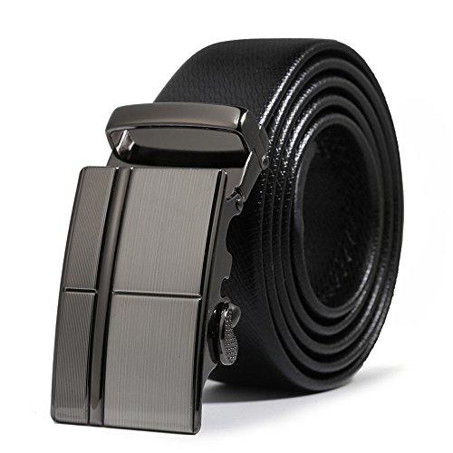 ITIEZY Echtes Leder Gürtel für Männer Ratsche Automatik Gürtelschnalle (Gleitschnalle) 35mm breit, Schwarz 15, Länge: Bis zu 49,21 '(125cm)