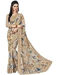 Craftsvilla Women's Art Silk Designer Floral Print Multicolor Saree With Blouse Piece