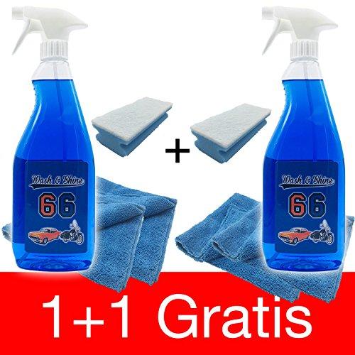 1L+1L GRATIS Set XL Wash&Shine66 Trockenreiniger, Autowaschen ohne Wasser, Lackpflege Auto waschen ohne Wasser für Innen und Aussen alle Oberflächen