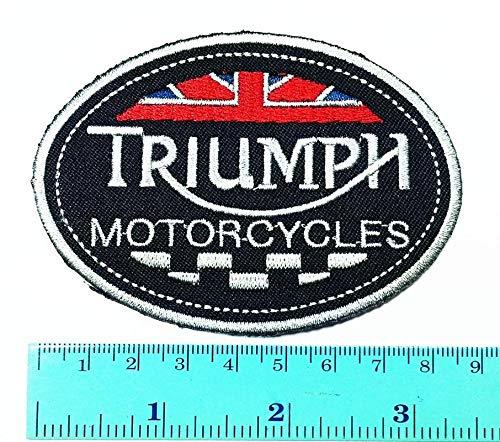 LipaLipaNa Triumph Motorrad Patch Triumph Logo Biker Club Logo Patch zum Aufbügeln Jacke Cap Weste Abzeichen Zeichen Logo Applique Souvenir Zubehör - Eisen, Den Um Motorrad-club