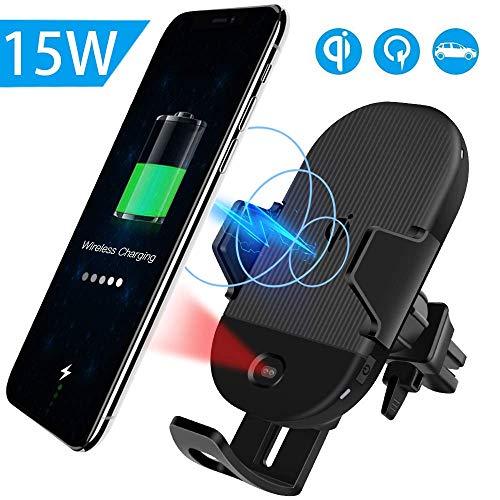 Evershop 15W Wireless Car Charger, Auto Kabellose Handyhalterung KFZ Induktive Ladestation Autolade für iPhone XS/MAX/X/8/8 Plus,Fast Qi Autohalterung für Samsung Galaxy S10+/S10/S9/Note 8/S8/S7 usw