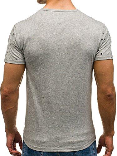 BOLF Herren T-Shirt Tee Kurzarm Rundhals Sommer Aufdruck Slim Print 3C3 Motiv Grau