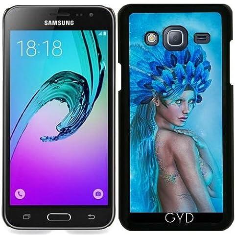 Hülle für Samsung Galaxy J3 2015 (SM-J310) - Zeichnung Der Schönen Frau Blu by Illu-Pic.-A.T.Art