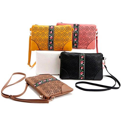 BZLine® Frauen Handtaschen Schulter Messeng Blumen Tasche Hippie Stickerei Tasche Rot