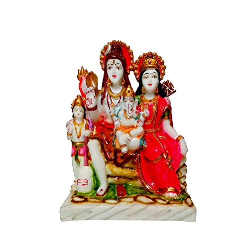 Fabzone Marble Look Lord Shiv Parivar Idol Shiv Parwati God Shiva Family Handicraft Statue Spiritual Puja Vastu Showpiece Fegurine - Religious Murti Pooja Gift Item Home Décor/Table/Office/Temple