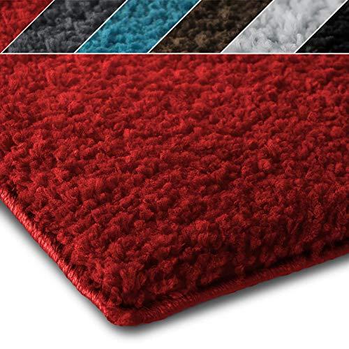 Shaggy Teppich Prestige | Flauschiger Hochflor Langflor | Zur Dekoration von Wohnzimmer, Schlafzimmer, Kinderzimmer | Öko-Tex 100 zertifiziert | 8 moderne Farben in 5 Größen (160x230 cm, rot) -