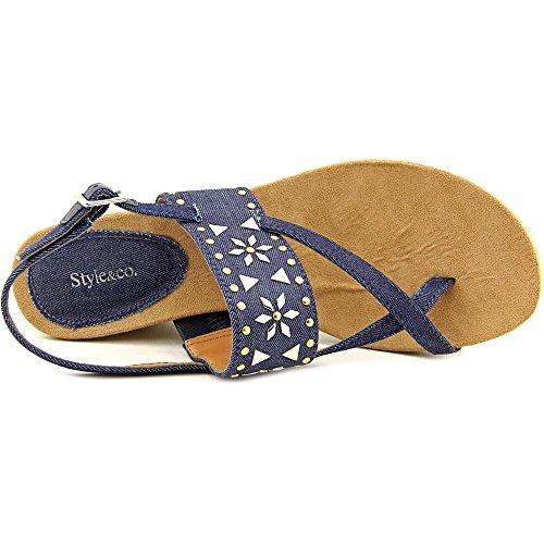 Style & Co Jazzmin Textile Keilabsätze Sandale Indigo