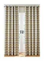 """Woven Check Green Grey Beige Lined 66"""" X 90"""" - 168CM X 229CM Ring TOP CURTAINS from Curtains"""