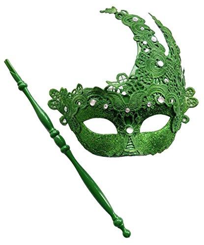 Maskerade Masken auf Stick Halloween Mardi Gras Venezianischen Party Masken Schnüren Strasssteine (Grün)