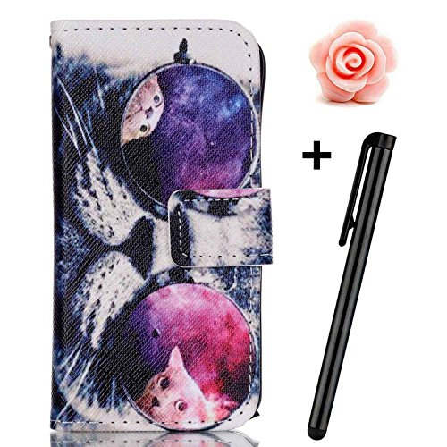 iPhone 7 Plus Fall, toyym iPhone 7 Plus Leder Fall [Cash Slots], Premium Echt Leder Brieftasche Cover mit kreativem Design Muster für Apple iPhone 7 Plus 14 cm + 1 x Blume Staub Plug + 1 x Stylus Pen Glasses Cat