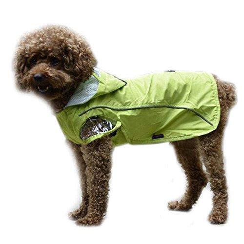 Bestland Haustier Hund Regenmantel Wasserdicht Kleine Hunde Regenjacke (XL/ Rückenlänge 35-37cm;Hals 31-33cm;Brust47-49cm, Grün)